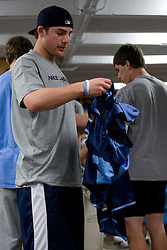 04 April 2008: North Carolina Tar Heels men's lacrosse midfielder Matt Davie (28) in the locker room before practice in Chapel Hill, NC.