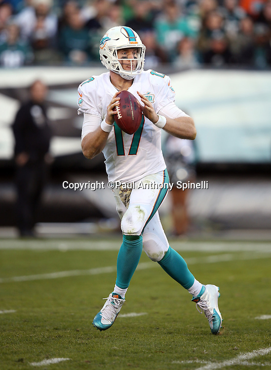 Miami Dolphins quarterback Ryan Tannehill (17) drops back and throws on a late fourth quarter pass play during the 2015 week 10 regular season NFL football game against the Philadelphia Eagles on Sunday, Nov. 15, 2015 in Philadelphia. The Dolphins won the game 20-19. (©Paul Anthony Spinelli)