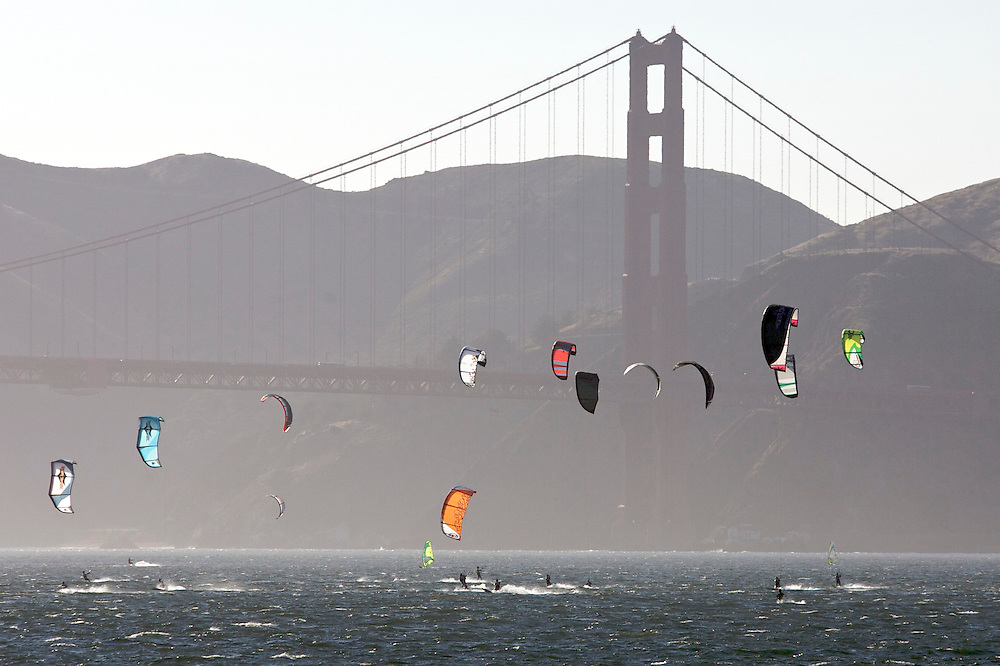 Kite surfing on the San Francisco Bay with the Golden Gate Bridge in the background.  Mandatory Credit: Dinno Kovic / Dinno Kovic Photography