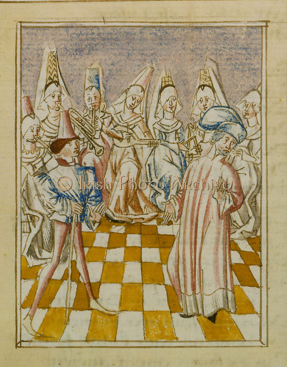 The Orchestra of Women: from 'Le livre de Champion des Dames' by Martin le Franc. 15th century French manuscript.