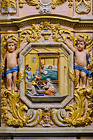 France, Finistère (29), l'enclos paroissial de Lampaul-Guimiliau, l'église Notre-Dame, detail d'un retable // France, Finistere (29), the parish enclosure of Lampaul-Guimiliau, the Notre-Dame church