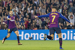 October 20, 2018 - Barcelona, Catalonia, Spain - Coutinho cellebrating his score during the spanish league La Liga match between FC Barcelona and Sevilla FC at Camp Nou Stadium in Barcelona, Catalonia, Spain on October 20, 2018  (Credit Image: © Miquel Llop/NurPhoto via ZUMA Press)