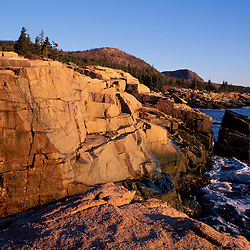 Otter Cliffs, Acadia N.P., ME. Mt. Desert Island. February. Maine Coast.  Pink granite.  Atlantic Ocean.