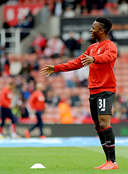 Liverpool's Raheem Sterling warms up before kick off- Photo mandatory by-line: Nizaam Jones/JMP - Mobile: 07966 386802 - 24/05/2015 - SPORT - Football - Stoke - Britannia Stadium - Stoke City v Liverpool - Barclays Premier League