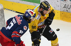 07.04.2019, Albert Schultz Halle, Wien, AUT, EBEL, Vienna Capitals vs EC Red Bull Salzburg, Halbfinale, 5. Spiel, im Bild v.l. Layne Viveiros (EC Red Bull Salzburg) und Kelsey Tessier (spusu Vienna Capitals) // during the Erste Bank Icehockey 5th semifinal match between Vienna Capitals and EC Red Bull Salzburg at the Albert Schultz Halle in Wien, Austria on 2019/04/07. EXPA Pictures © 2019, PhotoCredit: EXPA/ Thomas Haumer