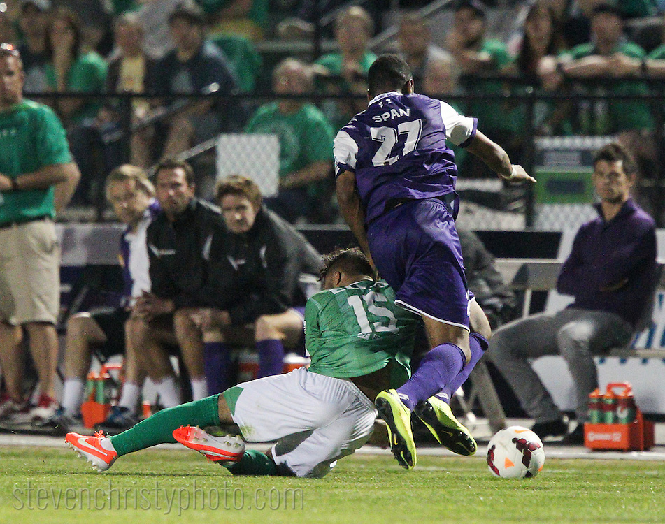 April 26, 2014: The OKC Energy FC play the Orlando City Lions in a USL Pro game at Pribil Stadium in Oklahoma City, Oklahoma.