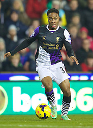 STOKE-ON-TRENT, ENGLAND - Sunday, January 12, 2014: Liverpool's Raheem Sterling in action against Stoke City during the Premiership match at the Britannia Stadium. (Pic by David Rawcliffe/Propaganda)