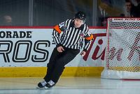 REGINA, SK - MAY 20: Referee Jeff Ingram at the Brandt Centre on May 20, 2018 in Regina, Canada. (Photo by Marissa Baecker/CHL Images)