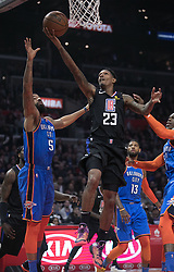March 8, 2019 - Los Angeles, California, U.S - Lou Williams #23 of the Los Angeles Clippers goes for a layup during their NBA game with the Oklahoma Thunder on Friday March 8, 2019 at the Staples Center in Los Angeles, California. JAVIER ROJAS/PI (Credit Image: © Prensa Internacional via ZUMA Wire)
