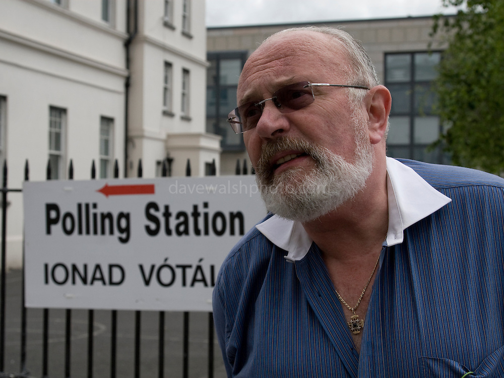 """Editorial Use Only: Irish Senator and human rights activist David Norris explains to Dutch TV Nederland 1 why he voted """"no"""" to the Lisbon Treaty, outside the Polling Station on Marlborough Street, Dublin 1. He cited possible European military expansion following a """"yes"""" vote as a key issue in his choice in voting """"no"""".....David Norris was the first openly gay person to be elected to public office in Ireland. Senator Norris is also a prominent Joycean scholar, is the a big player in  Dublin's annual Bloomsday celebrations. Senator Norris's razor-sharp wit and debating skills have made him a popular figure in Ireland.....More here:..http://www.senatordavidnorris.ie/....Source:..http://www.davewalshphoto.com"""