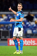 Arkadiusz Milik of Napoli gestures during the UEFA Champions League, Group E football match between SSC Napoli and KRC Genk on December 10, 2019 at Stadio San Paolo in Naples, Italy - Photo Federico Proietti / ProSportsImages / DPPI