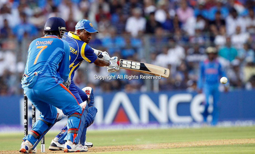 02.04.2011 Cricket World Cup Final from the Wankhede Stadium in Mumbai. Sri Lanka v India. Chamara Kapugedera of Sri Lanka plays a shot during the final match of the ICC Cricket World Cup between India and Sri Lanka on the 2nd April 2011