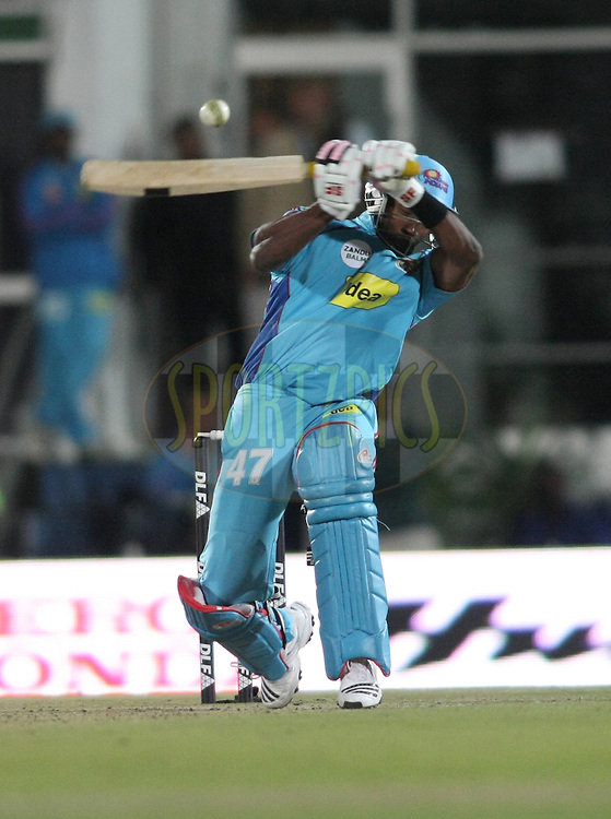 EAST LONDON, SOUTH AFRICA - 8 May 2009. Dwayne Bravo attempts to hook the ball  during the  IPL Season 2 match between the Delhi Daredevils and the Mumbai Indians held at Buffalo Park in East London. South Africa..