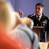 General T.K. Moffett speaks during the Daily Journal's 75th Anniversary D-Day Luncheon at the Hub on Thursday.