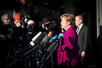 DEU, Deutschland, Germany, Berlin,06.02.2018: Bundeskanzlerin Dr. Angela Merkel (CDU) beim Pressestatement vor den Koalitionsverhandlungen zwischen CDU/CSU und SPD im Konrad-Adenauer-Haus.