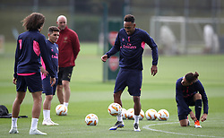 Arsenal's Pierre-Emerick Aubameyang (second right) during the training session at London Colney, Hertfordshire.