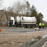 RTC on A9 at Dunkeld....25.02.09<br /> Raw sewage is spread all over the main A9 by Dunkeld Railway Station after two Scottish Water lorries collided at around 9.45am this morning.<br /> Picture by Graeme Hart<br /> COPYRIGHT: Perthshire Picture Agency.<br /> Tel. 01738 623350 / 07990 594431