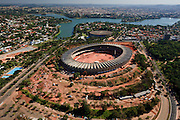 Belo Horizonte, Brasil...Estadio Governador Magalhaes Pinto (Mineirao) na Pampulha, Minas Gerais, durante as obras de reforma para Copa do Mundo de 2014. Ao fundo o Mineirinho e a Lagoa da Pampulha...Governador Magalhaes Pinto stadium (Mineirao) in Pampulha, Minas Gerais, during the reform to the 2014 World Cup . In the background Minheirinho and Pampulha Lake...Foto: BRUNO MAGALHAES / NITRO