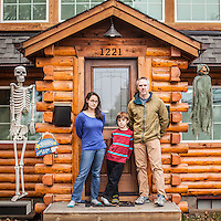 """Brian Duryea with children Alma (13) and son Andy (8) in front of their home on 10th Avenue in Anchorage's South Addition neighborhood.  """"I have restored this house almost single handedly.""""  bw_duryea@yahoo.com"""
