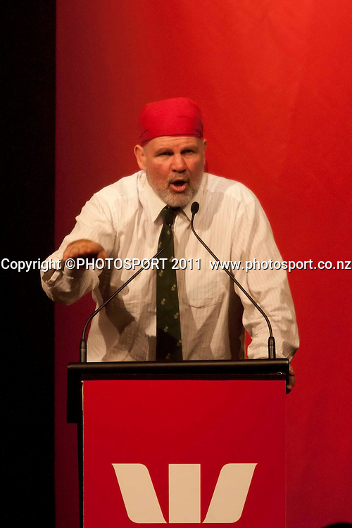 Peter FitzSimons MC during the Westpac International Rugby Legends charity dinner at Claudelands event center, Hamilton, New Zealand, Wednesday 25 May 2011. Photo: Dion Mellow/photosport.co.nz
