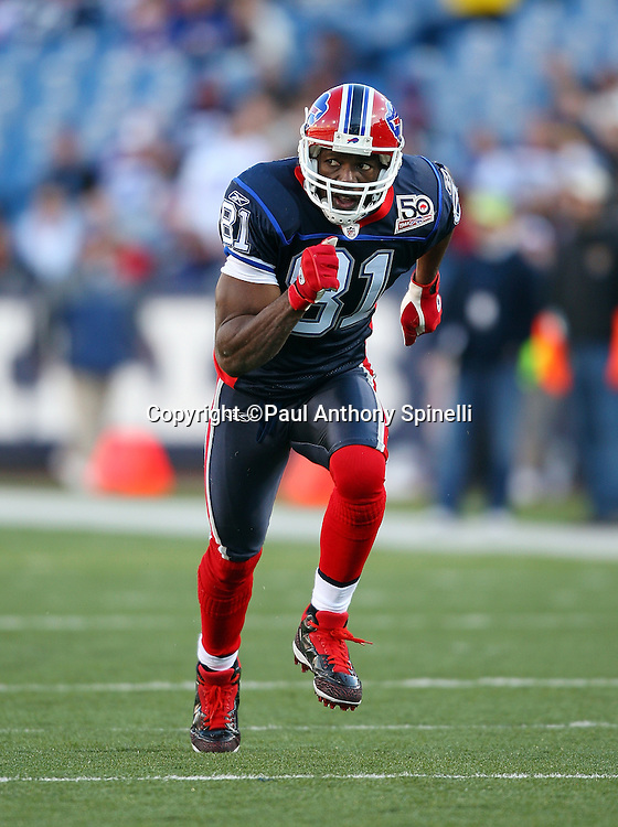 Buffalo Bills wide receiver Terrell Owens (81) goes out for a pass during the NFL football game against the Houston Texans, November 1, 2009 in Orchard Park, New York. The Texans won the game 31-10. (©Paul Anthony Spinelli)