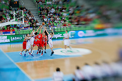 View on the court during basketball match between National teams of Serbia and Spain in for third place match of U20 Men European Championship Slovenia 2012, on July 22, 2012 in SRC Stozice, Ljubljana, Slovenia. (Photo by Matic Klansek Velej / Sportida.com)