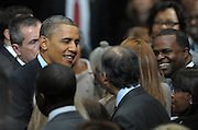 US President Barack Obama greets supporters including Atlanta Mayor Kasim Reed, right, after speaking at the City of Decatur Recreation Center in Decatur, Georgia, USA, 14 February 2013. Obama was promoting the proposals mentioned in his State of Union speech, including preschool education.