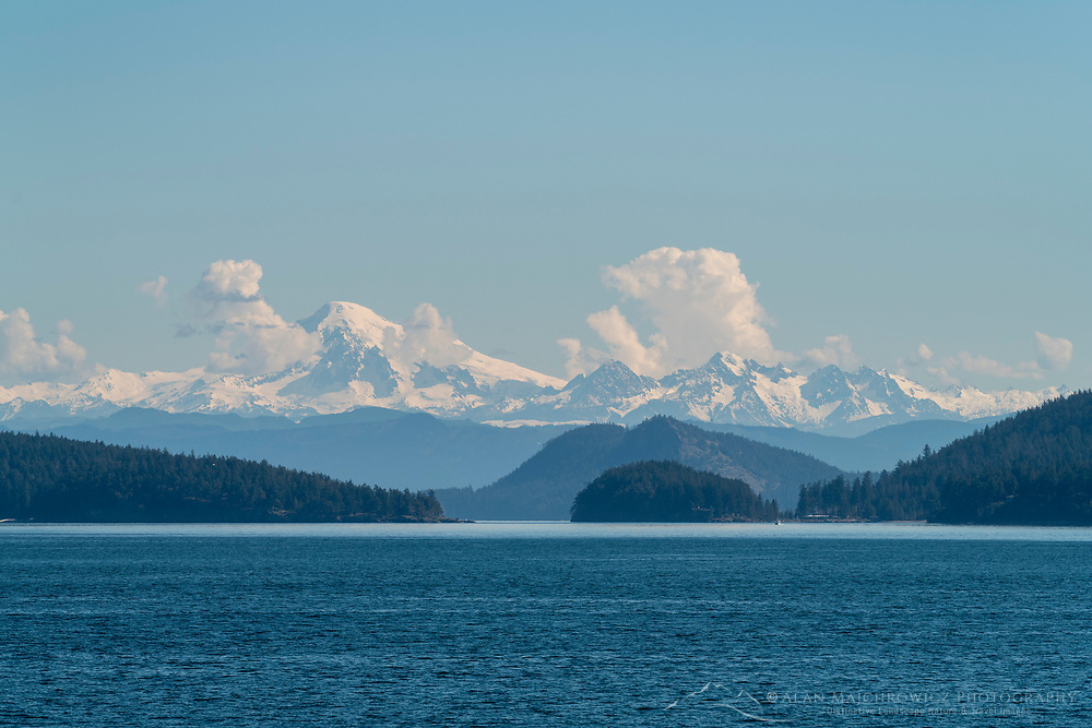 Mount Baker and Twin Sisters Range of North Cascades seen from SanJuan Islands Washington