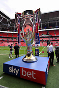 The EFL play off trophy before the EFL Sky Bet Championship play off final match between Aston Villa and Derby County at Wembley Stadium, London, England on 27 May 2019.