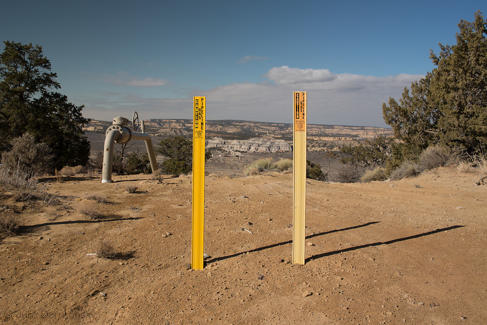 Gas pipelines on federal land near Counselor, New Mexico.