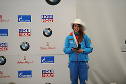 February 23, 2019 - Calgary, Alberta, Canada - Iuliia Kanakina (Russia) is on the stage during the medal ceremony at BMW IBSF SKELETON WORLD CUP Calgary Canada 23.02.2019 (Credit Image: © Russian Look via ZUMA Wire)