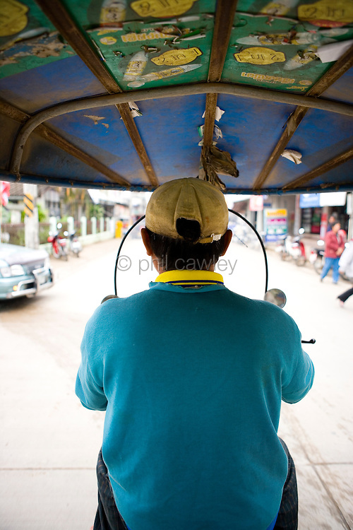 View from the back of a tuk tuk taxi, Chang Rai Thailand