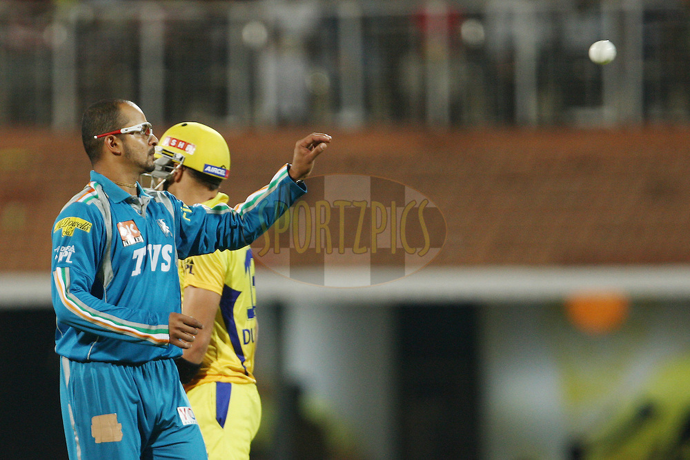 Murali Kartik during match 24 of the the Indian Premier League ( IPL) 2012  between The Chennai Superkings and the Pune Warriors India held at the M. A. Chidambaram Stadium, Chennai on the 19th April 2012..Photo by Jacques Rossouw/IPL/SPORTZPICS