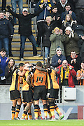 Hull City Celebrate Hull City striker Abel Hernandez (9) scoring his 3rd goal during the Sky Bet Championship match between Hull City and Charlton Athletic at the KC Stadium, Kingston upon Hull, England on 16 January 2016. Photo by Ian Lyall.