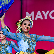 Indonesian dance group - Lila Bhawa performs at the Eid festival in Trafalgar Square London to mark the end of Ramadan on 8 June 2019, London, UK.