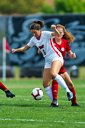 NORMAL, IL - August 10:  Sarah Lafayette during a nonconference exhibition women's soccer match between the Southern Illinois Edwardsville Cougars and the Illinois State Redbirds August 10 2019 on Adelaide Street Field in Normal IL (Photo by Alan Look)