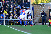Blackburn celebrate their  second goal  during the The FA Cup Fourth Round match between Oxford United and Blackburn Rovers at the Kassam Stadium, Oxford, England on 30 January 2016. Photo by Dennis Goodwin.