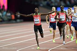 Elijah Manangoi of Kenya celebrates his first place finish - Mandatory byline: Patrick Khachfe/JMP - 07966 386802 - 13/08/2017 - ATHLETICS - London Stadium - London, England - Men's 1500m Final - IAAF World Championships