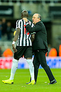 Newcastle United manager Rafael Benitez congratulates Mohamed Diame (#10) of Newcastle United following the Premier League match between Newcastle United and Watford at St. James's Park, Newcastle, England on 3 November 2018.