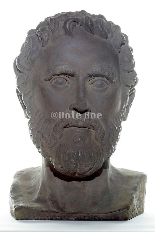 ornamental bust of Aristotle (384 B.C. -322 B.C.) Greek philosopher