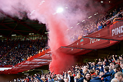 SHEFFIELD, ENGLAND - Thursday, September 26, 2019: Liverpool supporters set off a red smoke bomb as they celebrate their side's winning goal during the FA Premier League match between Sheffield United FC and Liverpool FC at Bramall Lane. Liverpool won 1-0. (Pic by David Rawcliffe/Propaganda)