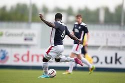 Falkirk's Ollie Durojaiye scoring their first goal. Falkirk  2 v 2 Rotherham Utd, pre-seaon friendly.<br /> &copy; Michael Schofield.