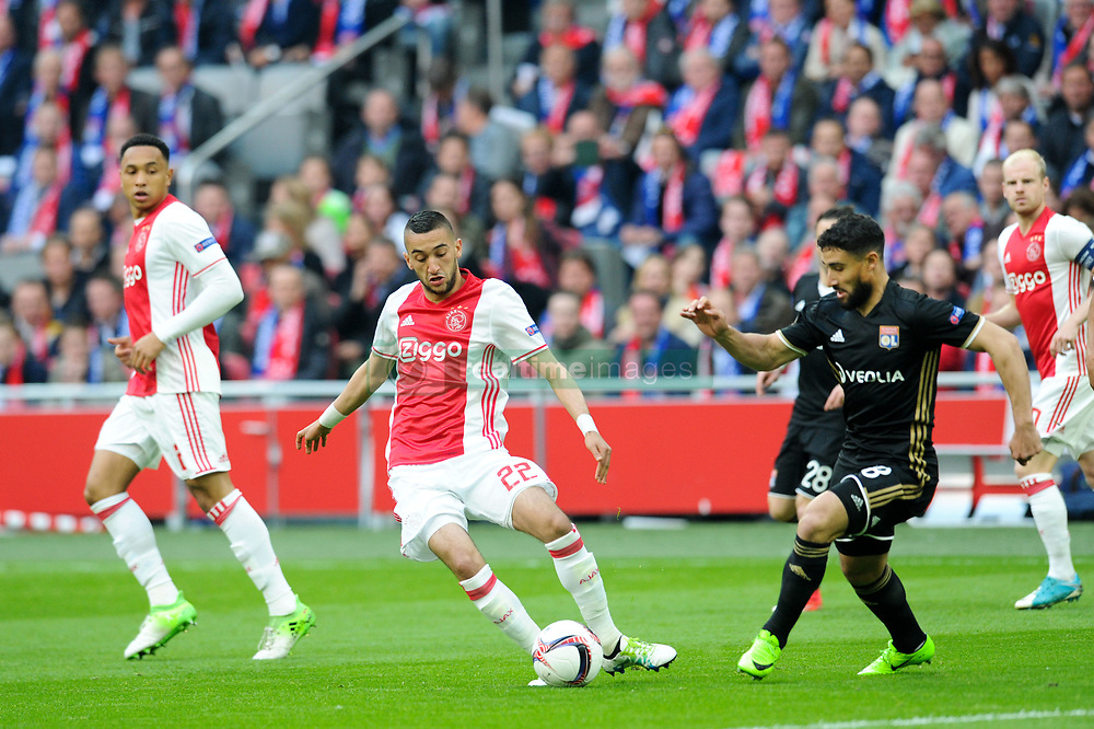 May 3, 2017 - Amsterdam, France - 18 NABIL FEKIR (ol) - 22 Hakim Ziyech  (Credit Image: © Panoramic via ZUMA Press)