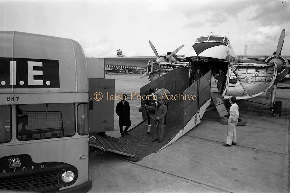 15/03/1963<br /> 03/15/1963<br /> 15 March 1963<br /> B.K.S. Air Transport Ltd. aircraft at Ferry Terminal at Dublin Airport. Horses being unloaded from a Bristol Type 170 Freighter based in Nutts Corner Airport, Belfast.