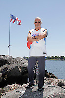 Alex Schibli visits his island - Rat Island for a picnic on June 15, 2012 ..Here he poses in front of various landmarks on the island.