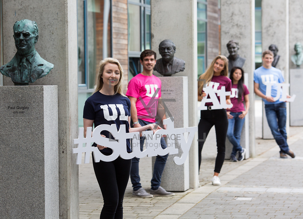 06.09. 2017.                             <br /> #Study at UL<br /> Students promoting The University of Limericks #Study at UL campaign. <br /> Pictured are, Ellen Brasseur, Food Science and Health, Shane O'Hara, Technology Management, Laura Cotter, English and New Media, Emma Louraine Folers, European Studies and Yuri Kanash, Aeronautical Engineering. Picture: Alan Place