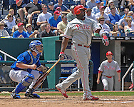 June 10, 2007 - Kansas City, MO..Philadelphia Phillies first basemen Ryan Howard watches his two-run homerun fly over the right field wall in the fifth inning against the Kansas City Royals at Kauffman Stadium in Kansas City, Missouri on June 10, 2007...MLB:  The Royals defeated the Phillies 17-5.  Photo by Peter G. Aiken/Cal Sport Media
