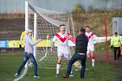 Airdrie's Andrew Ryan celebrates after scoring their first goal. Albion Rover 1 v 2 Airdrie, Scottish League 1 game played 5/11/2016 at Cliftonhill.