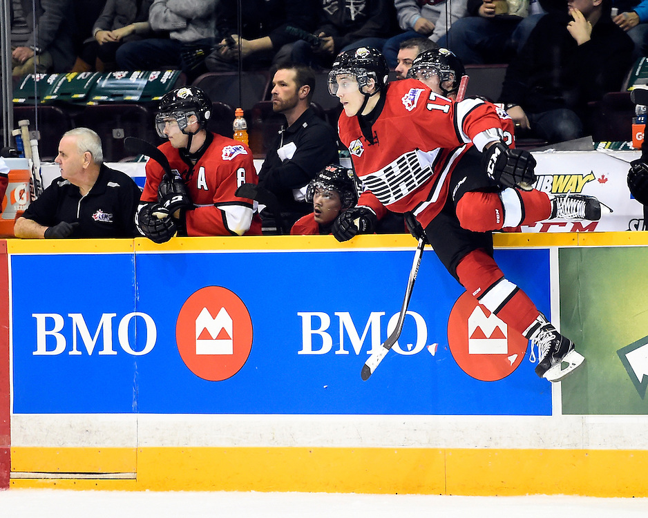 Tyler Bertuzzi of the Guelph Storm represented Team OHL in Game 3 of the 2014 SUBWAY Super Series in Peterborough on Thurs. Nov. 13, 2014. Photo by Aaron Bell/OHL Images