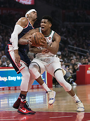 November 10, 2018 - Los Angeles, California, U.S - Giannis Antetokounmpo #34 of the Milwaukee Bucks is blocked by Tobias Harris #34 of the Los Angeles Clippers during their NBA game on Saturday November 10, 2018 at the Staples Center in Los Angeles, California. Clippers defeat Bucks in OT, 128-126. (Credit Image: © Prensa Internacional via ZUMA Wire)